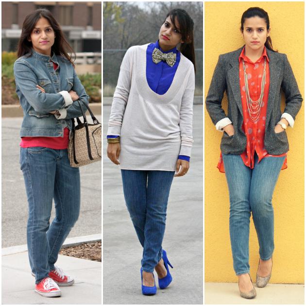 Three Ways To Style Basic Denims, Tanvii.com