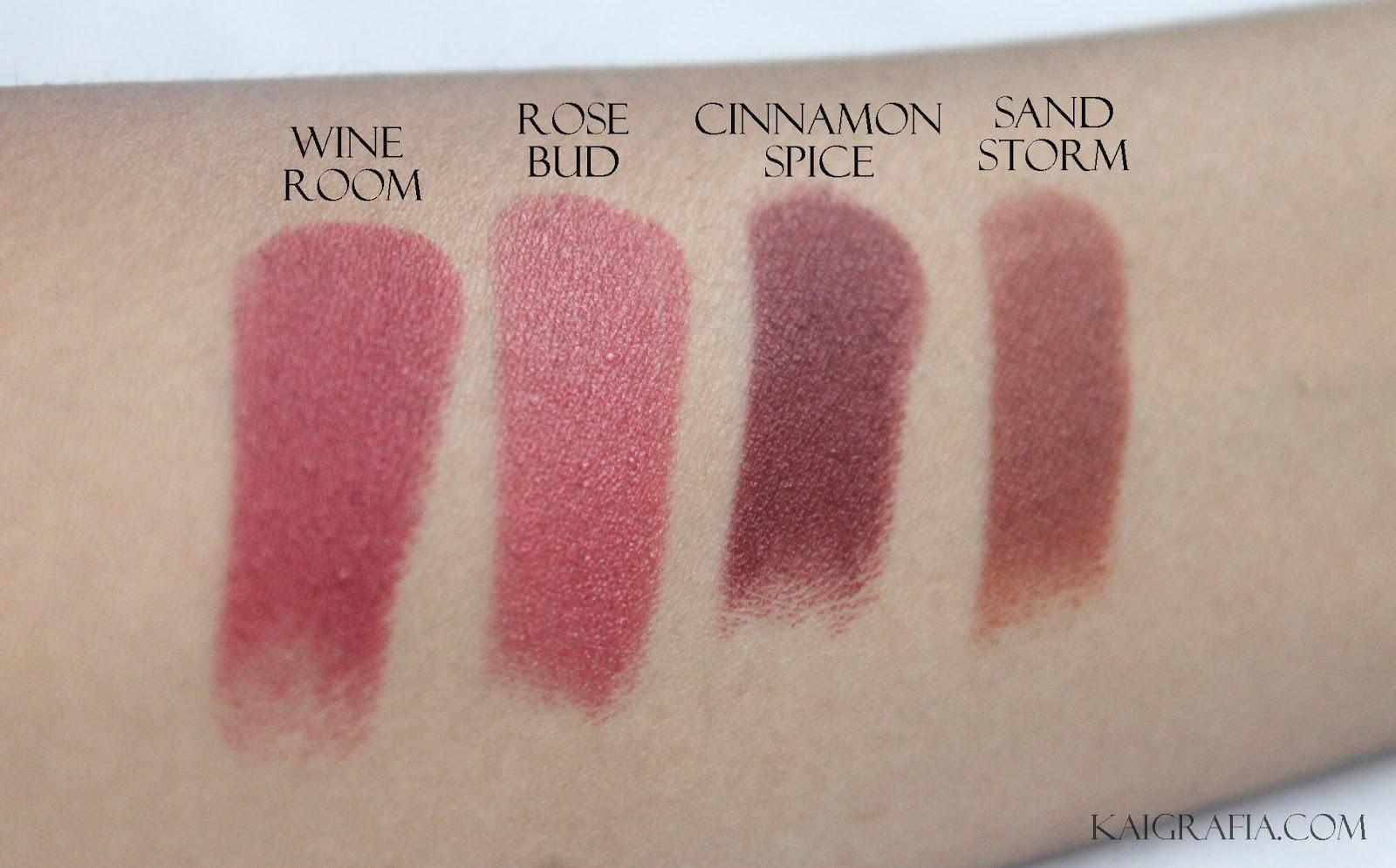 swatches of wet n wild matte lipstick under normal lighting
