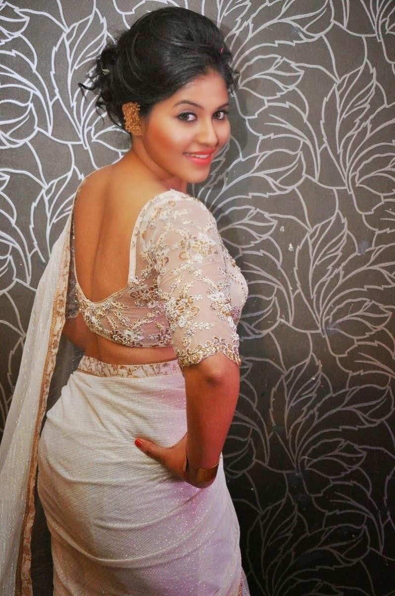 Honey Glitz Anjali Hot Stills In Sheer Saree At Geethanjali First Look And Hd Stills
