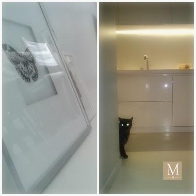 Białe wnętrza biała kuchnia meble kuchenne lakierowane na wysoki połysk czarny kot