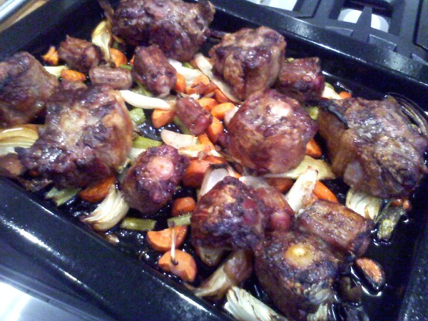 roasted oxtails when done move all the oxtail and vegetables