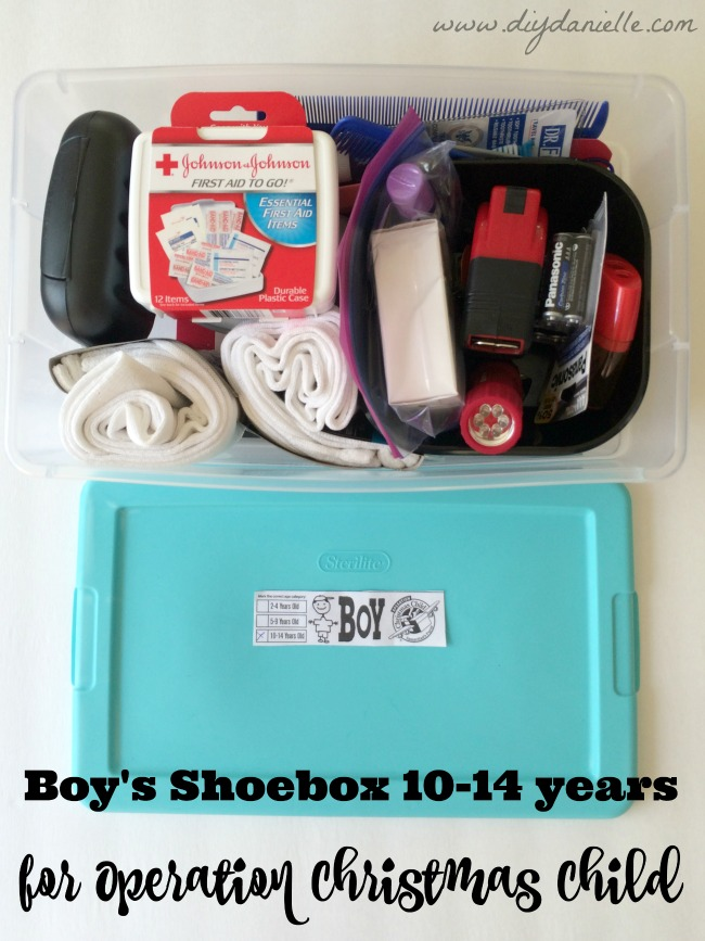 Age 10-14 years old Operation Christmas Child Shoe Box for a boy.