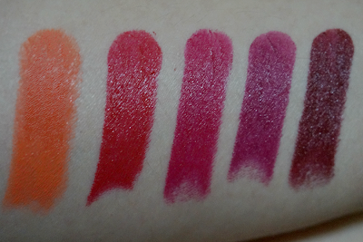 Swatches: 24 Carrot Gold, Stoplight Red, Cherry Picking, Sugar Plum Fairy, Cherry Bomb