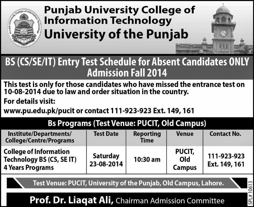 Punjab University Admission 2014 Advertisement Punjab Admission Fall 2014