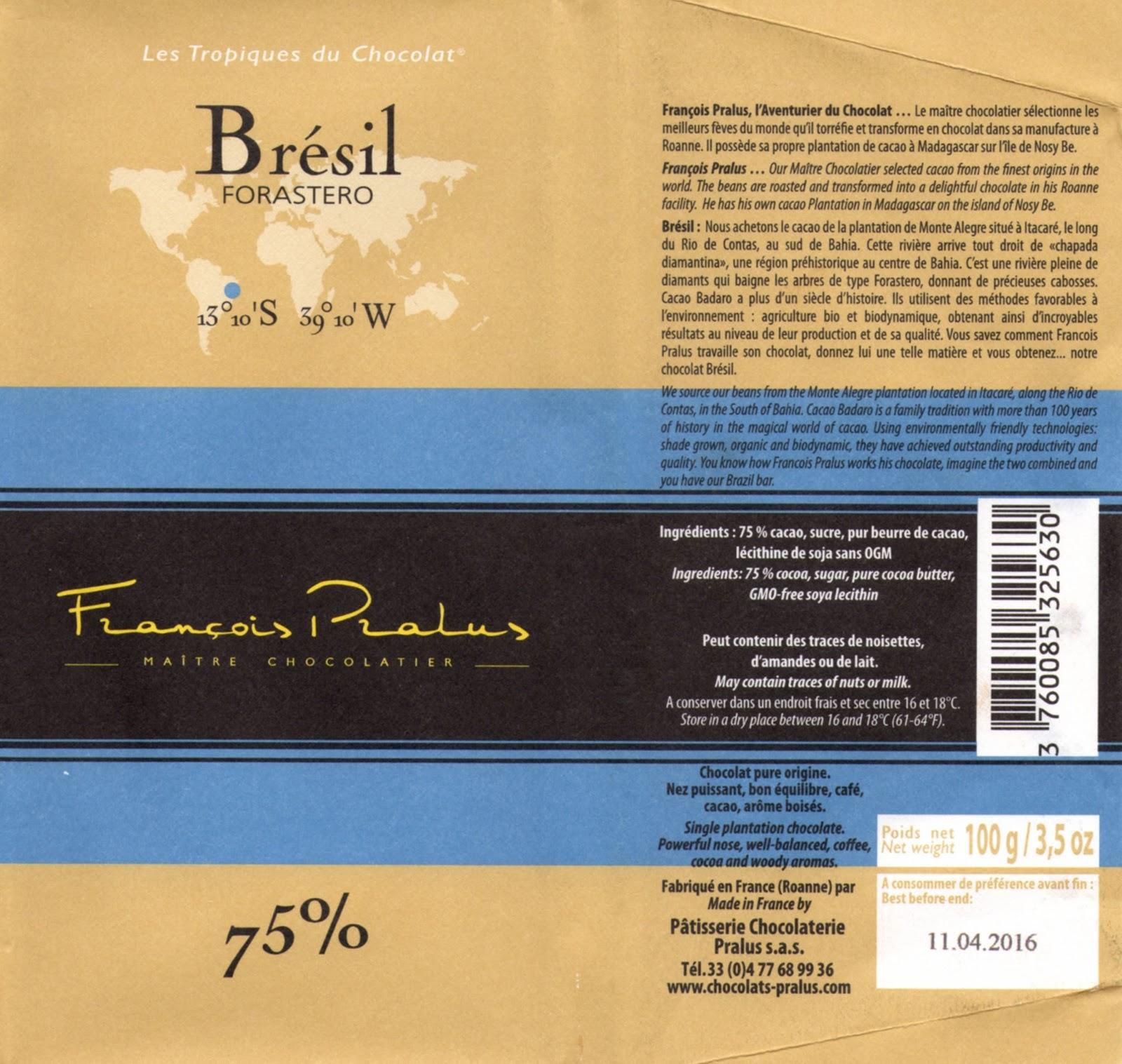 tablette de chocolat noir dégustation pralus noir brésil forastero 75