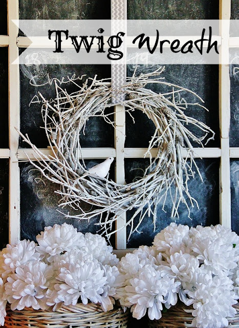 Winter twig wreath, by Thistlewood Farm, featured on Funky Junk Interiors