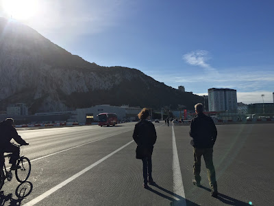 Walking across the runway to enter Gibraltar