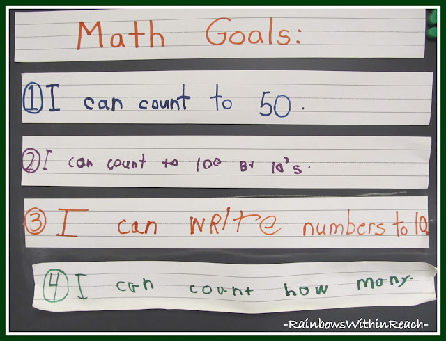 photo of: Kindergarten Math Goals (Handwritten by students)