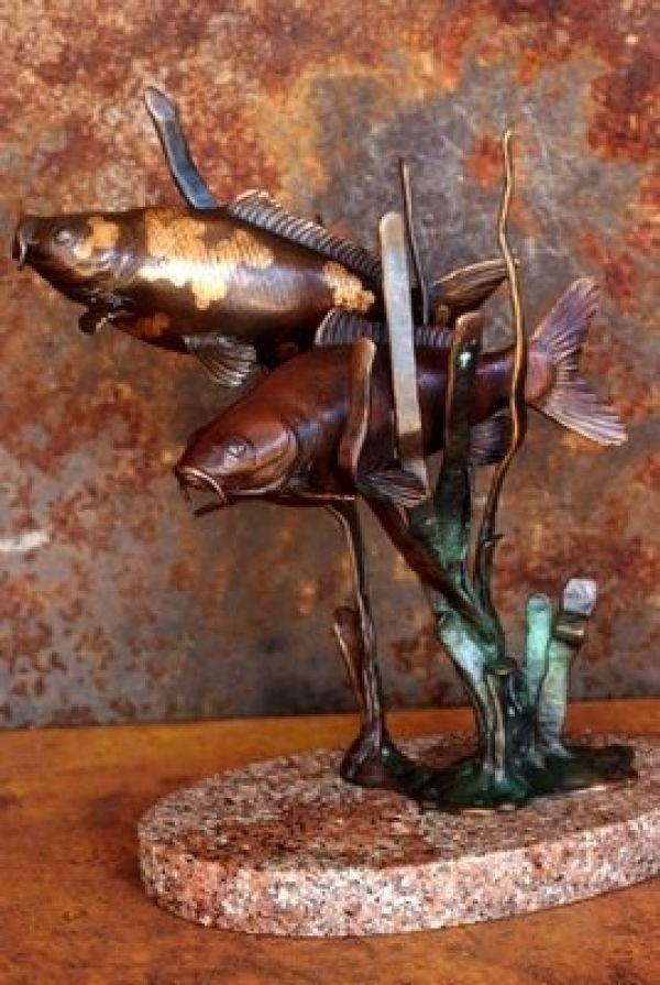 Artparks sculpture blog 39 mingle bronze koi carp fish for Statue carpe koi