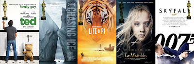 ted, chasing ice, life of Pi, Los Miserables, skyfall, cine. canción