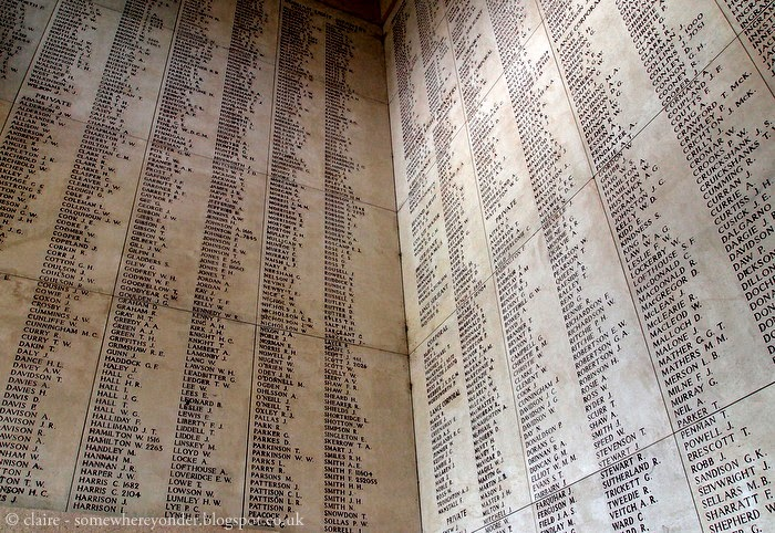 Names inscribed on The Menin Gate, Belgium
