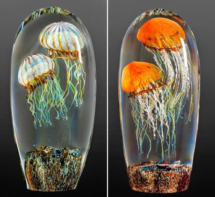 simply creative  jellyfish glass sculptures by rick satava