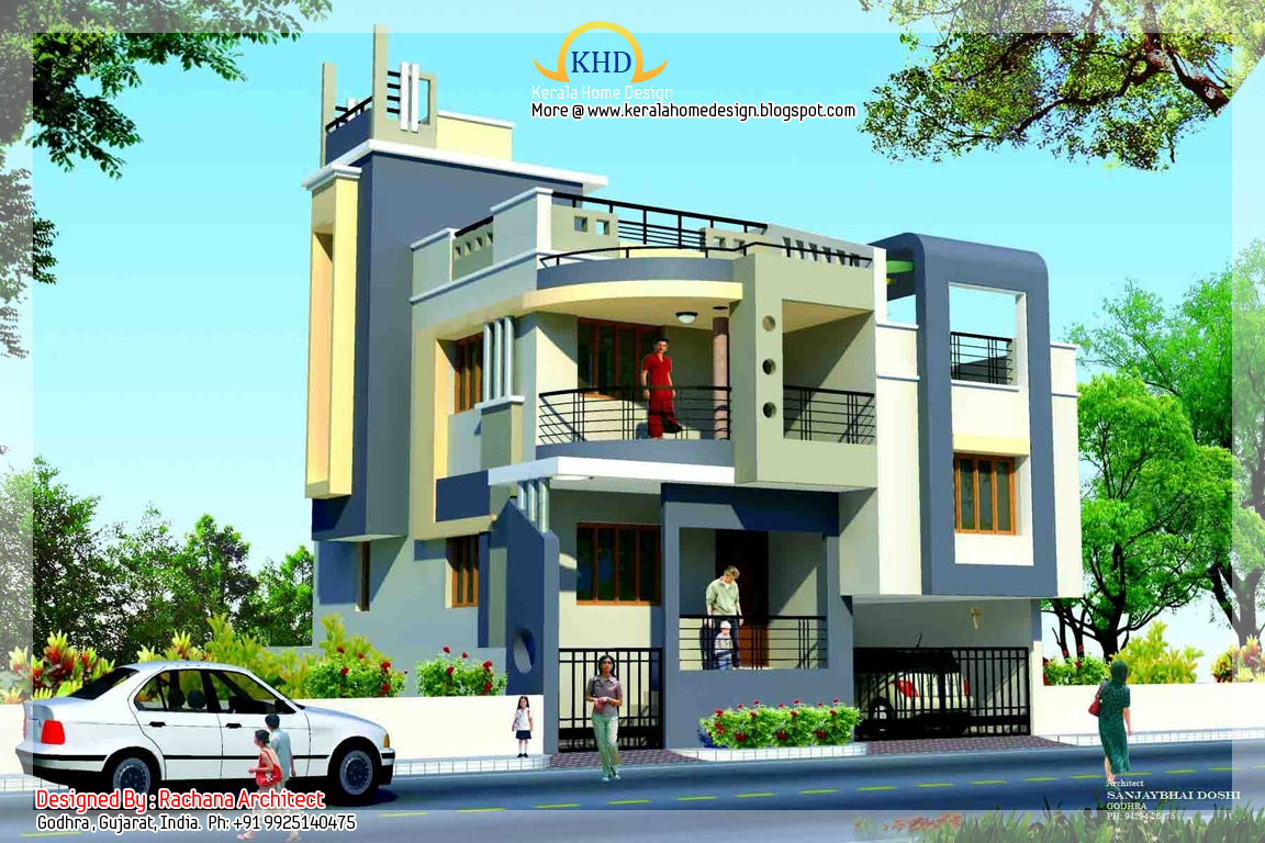 Duplex house plan and elevation 1770 sq ft indian for Duplex house india