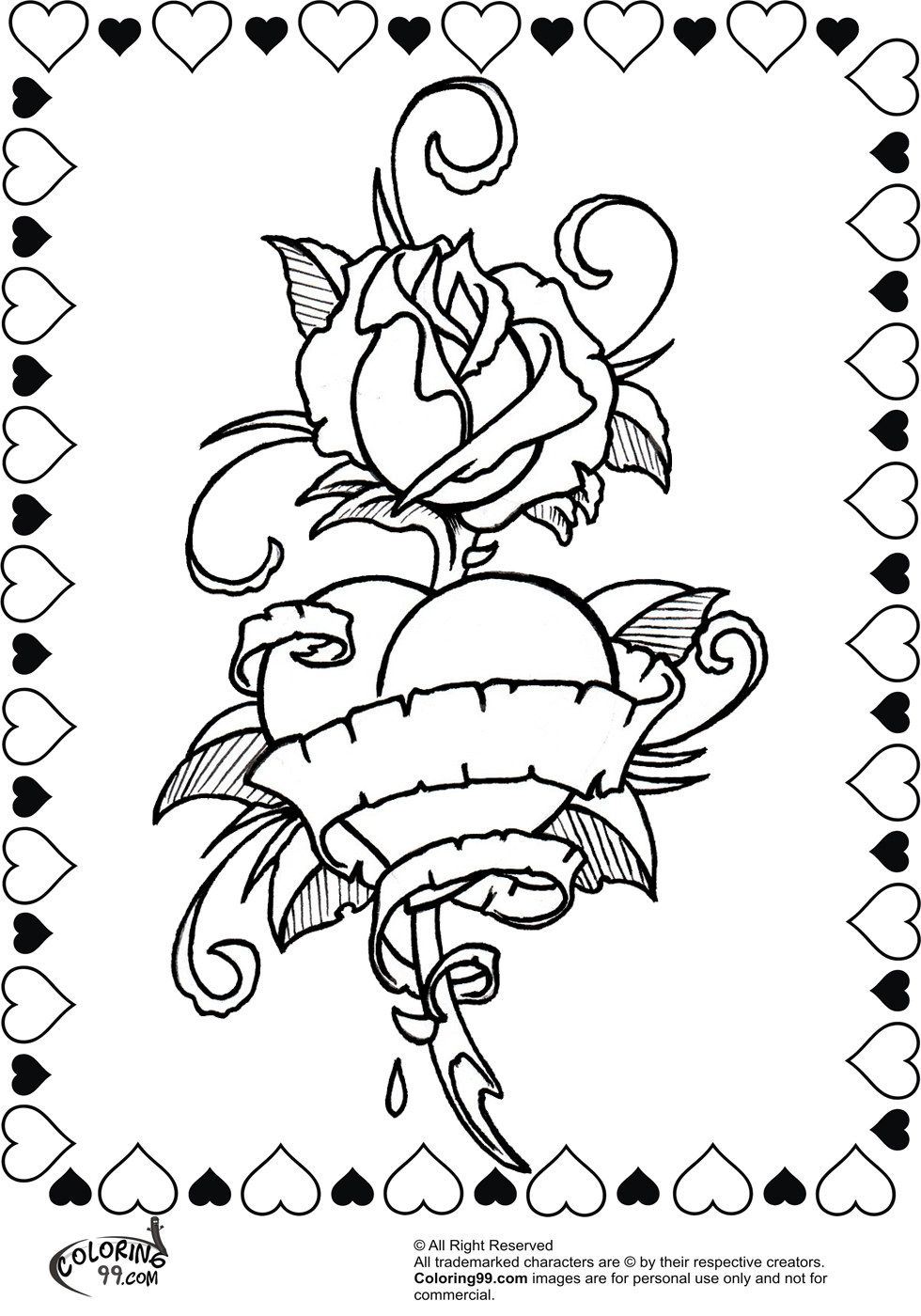 rose heart and ribbon coloring pages for valentine
