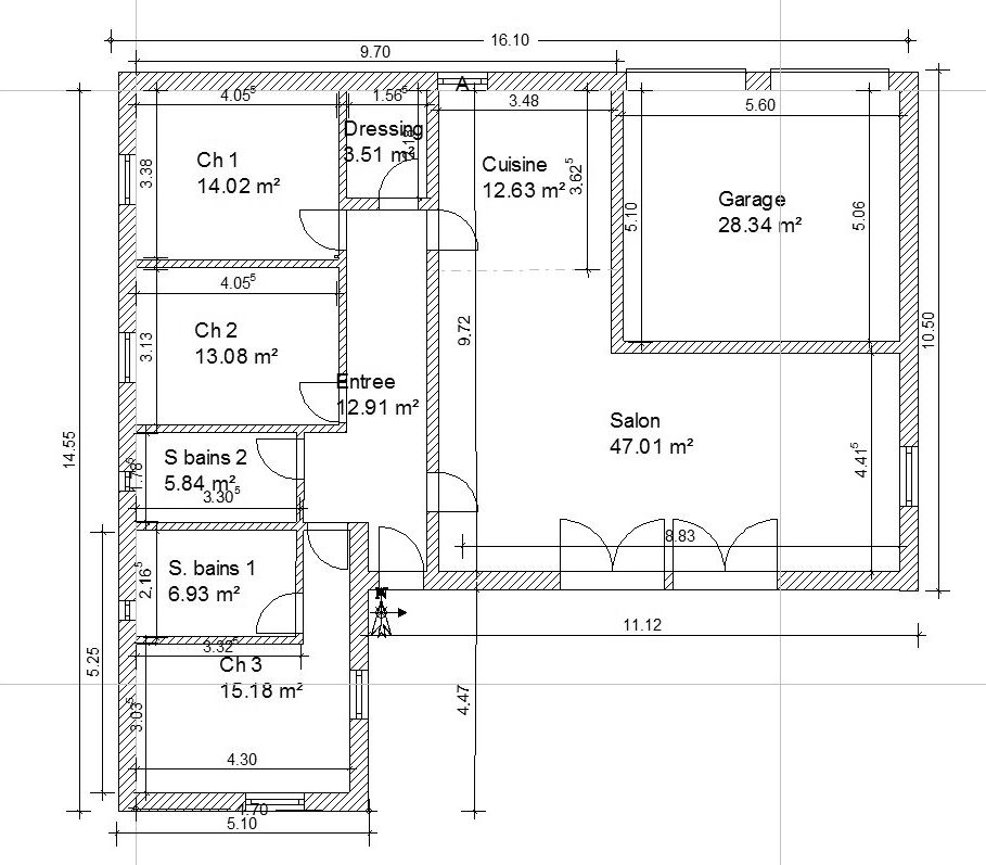 Plan maison 70m2 plein pied for Exemple de plan de construction de maison gratuit