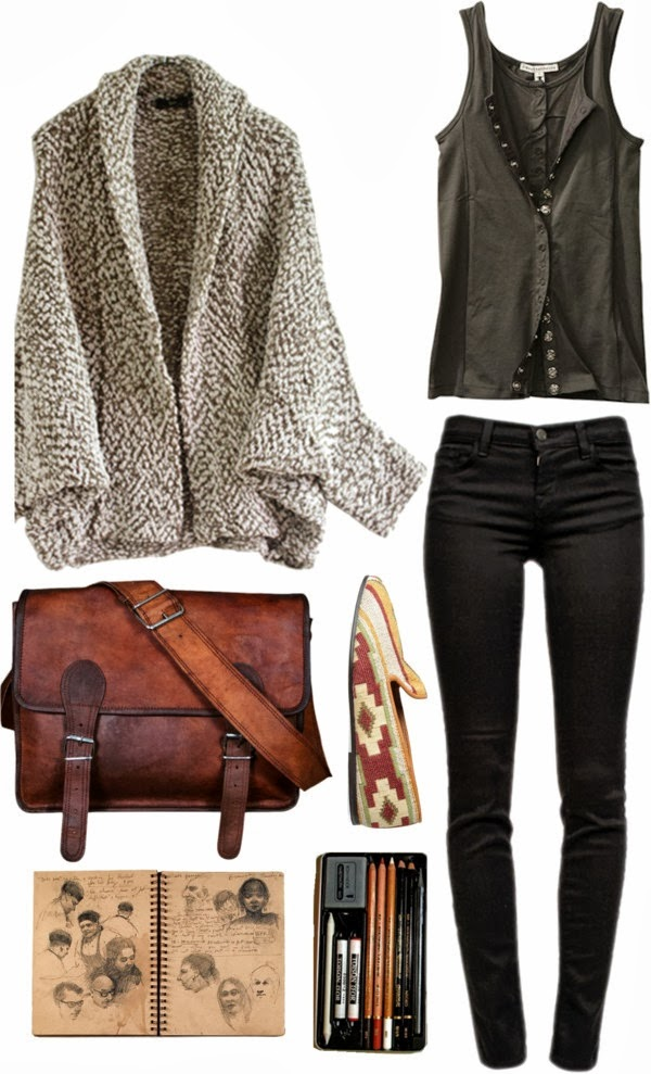 Woollen jacket, black pants, brown hand bag, and waist coat for fall