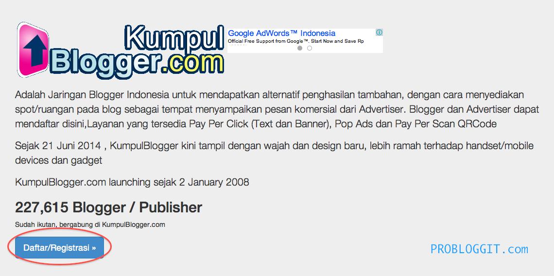 Cara Mendaftar dan Menghasilkan Uang Dari Blog Melalui KumpulBlogger