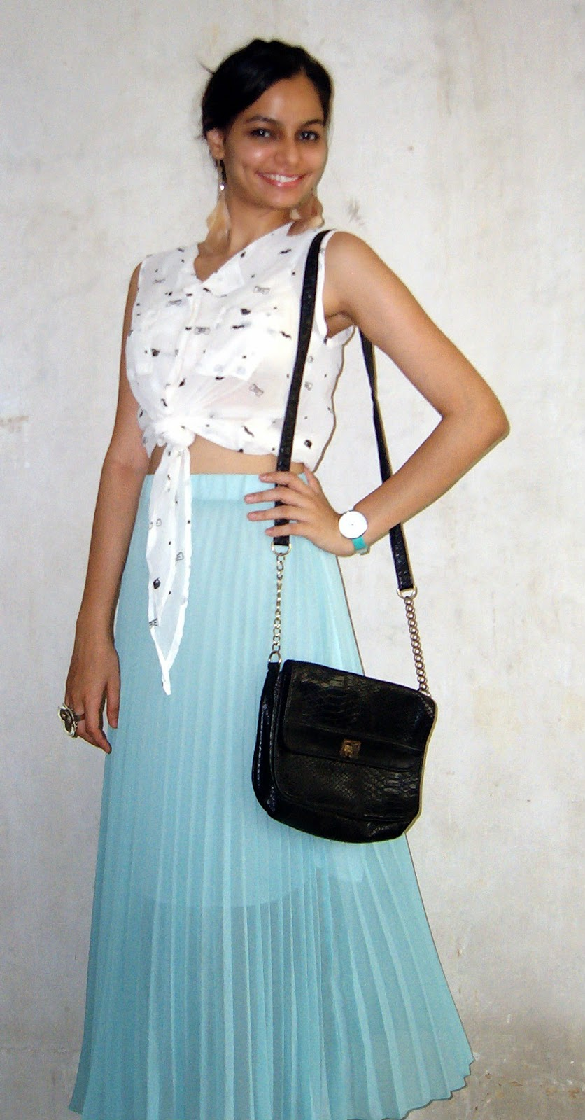 fashion blogger, indian fashion blogger, mumbai fashion blogger, pleated skirt, maxi skirt, sea green maxi skirt, moustache print shirt, croptop, how to wear a croptop, beachwear, feather earrings