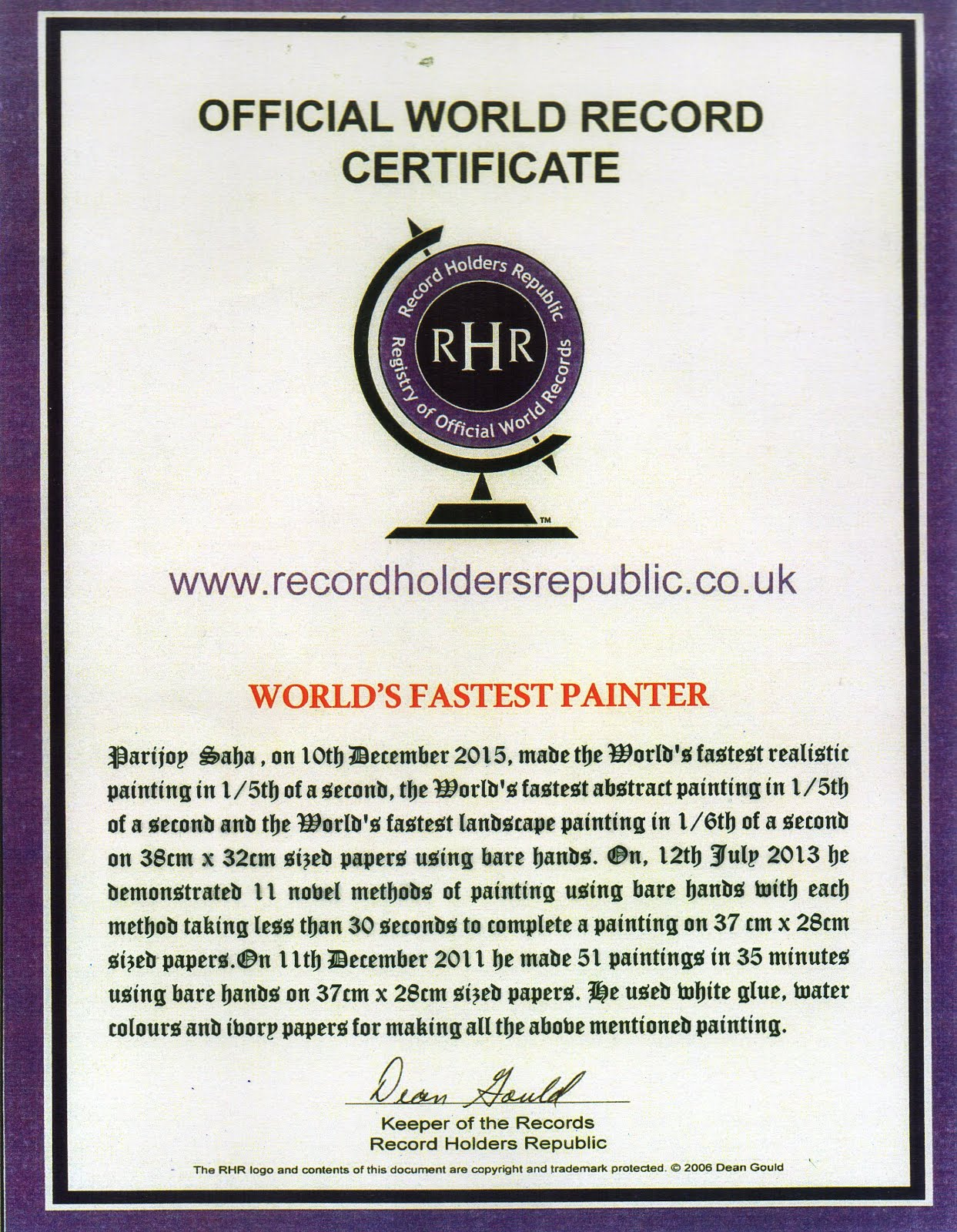 World Record Certificate for World's Fastest Painter