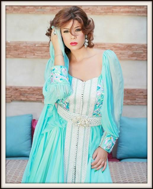 caftan bleu ciel marocain 2014