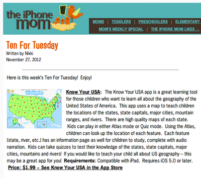 Know Your USA for iPad - Ten For Tuesday - The iPhone Mom