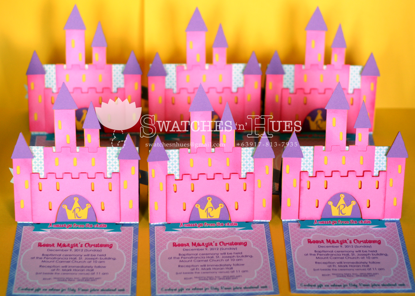 Princess And Castle Themed Easel Invitation For A Baptismal