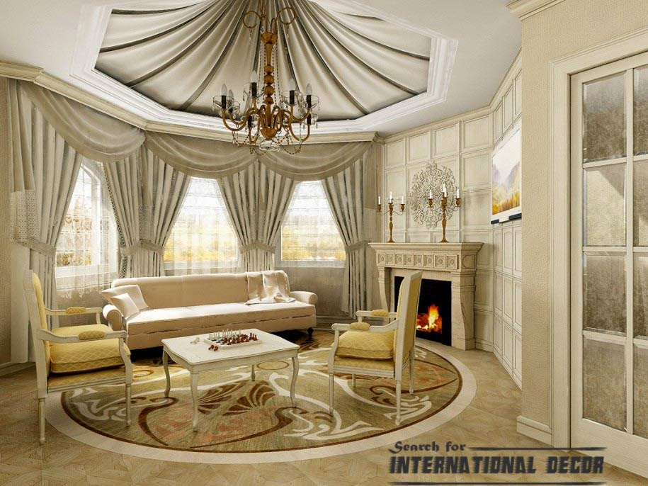 classic interior design, classic living room, false ceiling