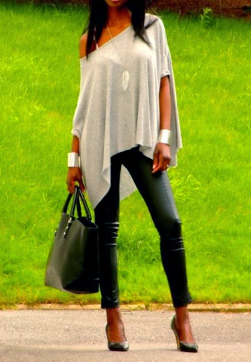 Bone Color OFF Shoulder Shirt And Black Leather Leging