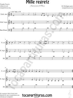Partitura de un Pequeño Montaje Instrumental con percusión (acompañamiento sencillo) y para Xilófonos Alto y Bajo (también posible tocar con Metalófonos) Xilophone sheet Music