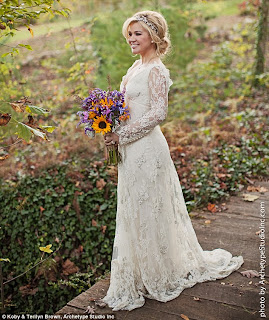 kelly wearing a vintage lace wedding gown with loose curled romantic hair