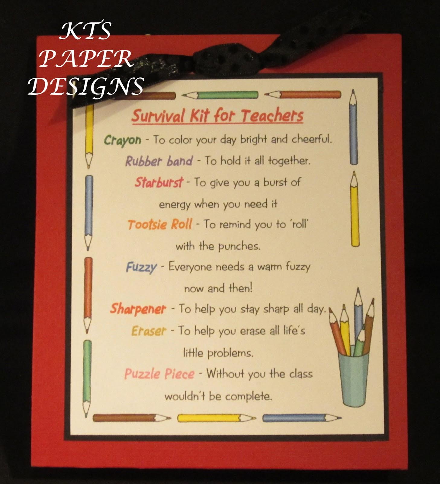 KTS Paper Designs: Teacher & Bus Driver Survival Kits