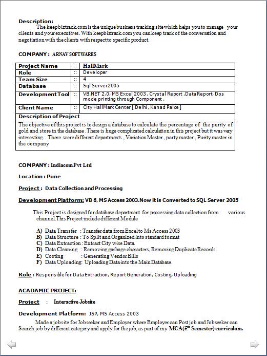 Vb resume sample