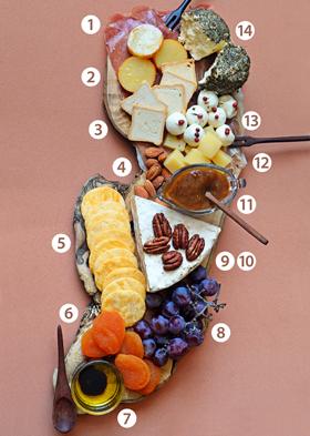 Sugestão para montar uma tábua de queijos e frios