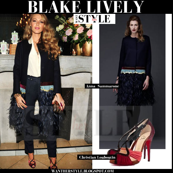 Blake Lively in black feather embellished anna sammarone coat and red pumps christian louboutin divinoche what she wore
