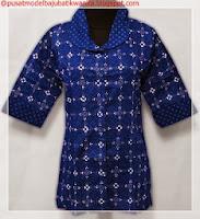model baju batik kombinasi modern biru