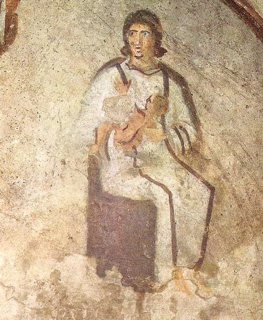 Virgen con el niño, catacumbas de Priscilla, Roma dans immagini sacre Maternidad_la_Virgen_con_el_Ni_o_pintura_mural_de_las_catacumbas_de_Priscila_Roma_._La_iconograf_a_inclu_a_escasas_figuras_recurrentes.