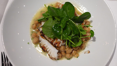 over alder with chick peas, chili and watercress herb salad. The squid ...