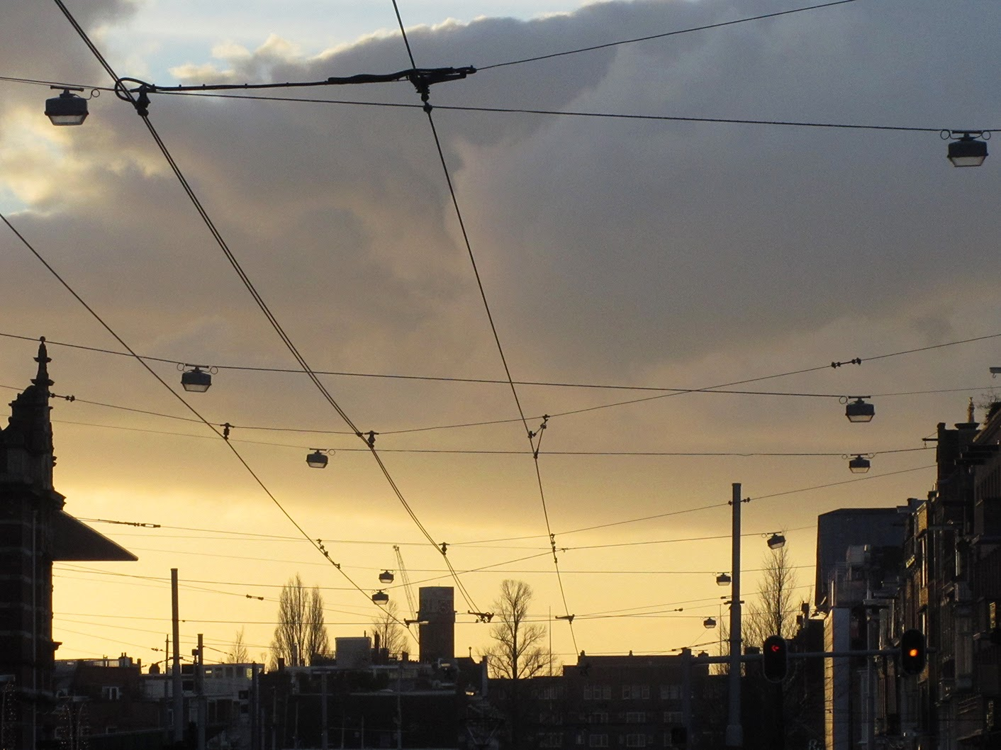 eery light from street with tram cables