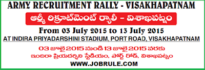 Direct Army Soldier Recruitment Rally at Visakhapatnam Indira Priyadarshini Stadium (Andhra Pradesh) From 3rd July to 13th July 2015