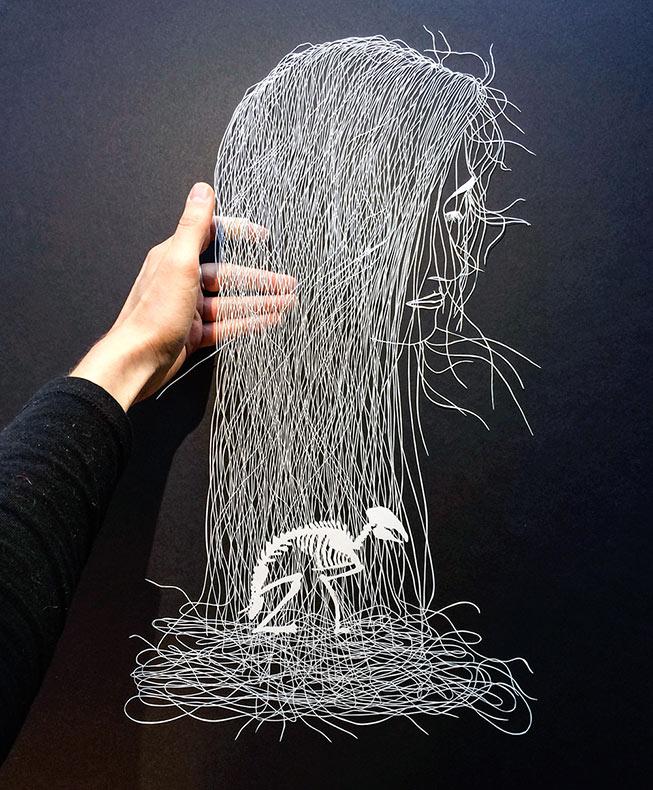 Nuevas ilustraciones de papel meticulosamente  cortado de Maude Blanca