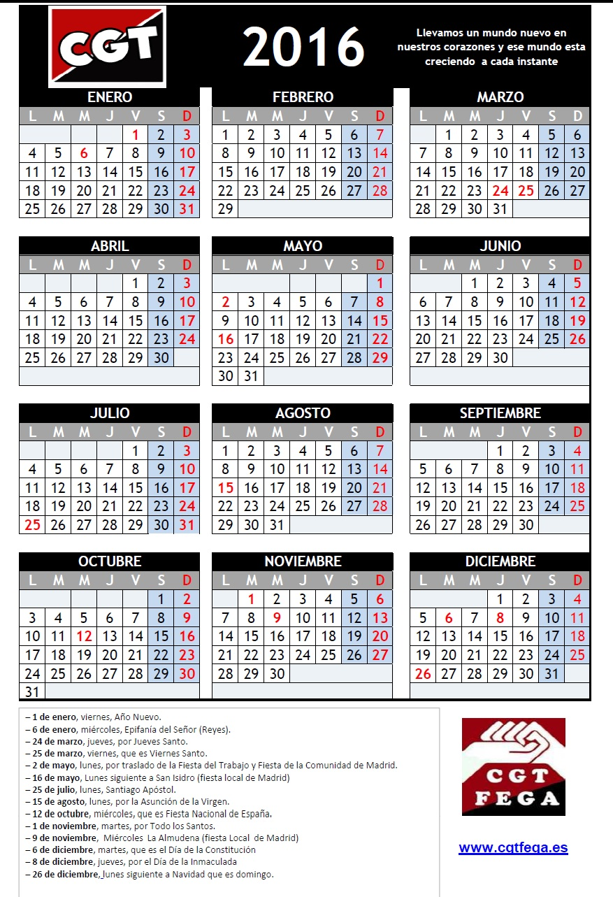 CALENDARIO LABORAL 2016 MADRID