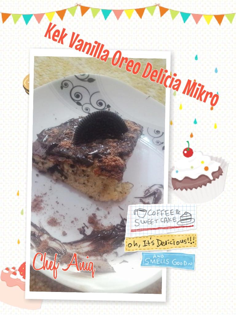 resepi kek vanilla oreo, jem coklat gardenia, delicia, hazelnut, kek mikro , oreo,