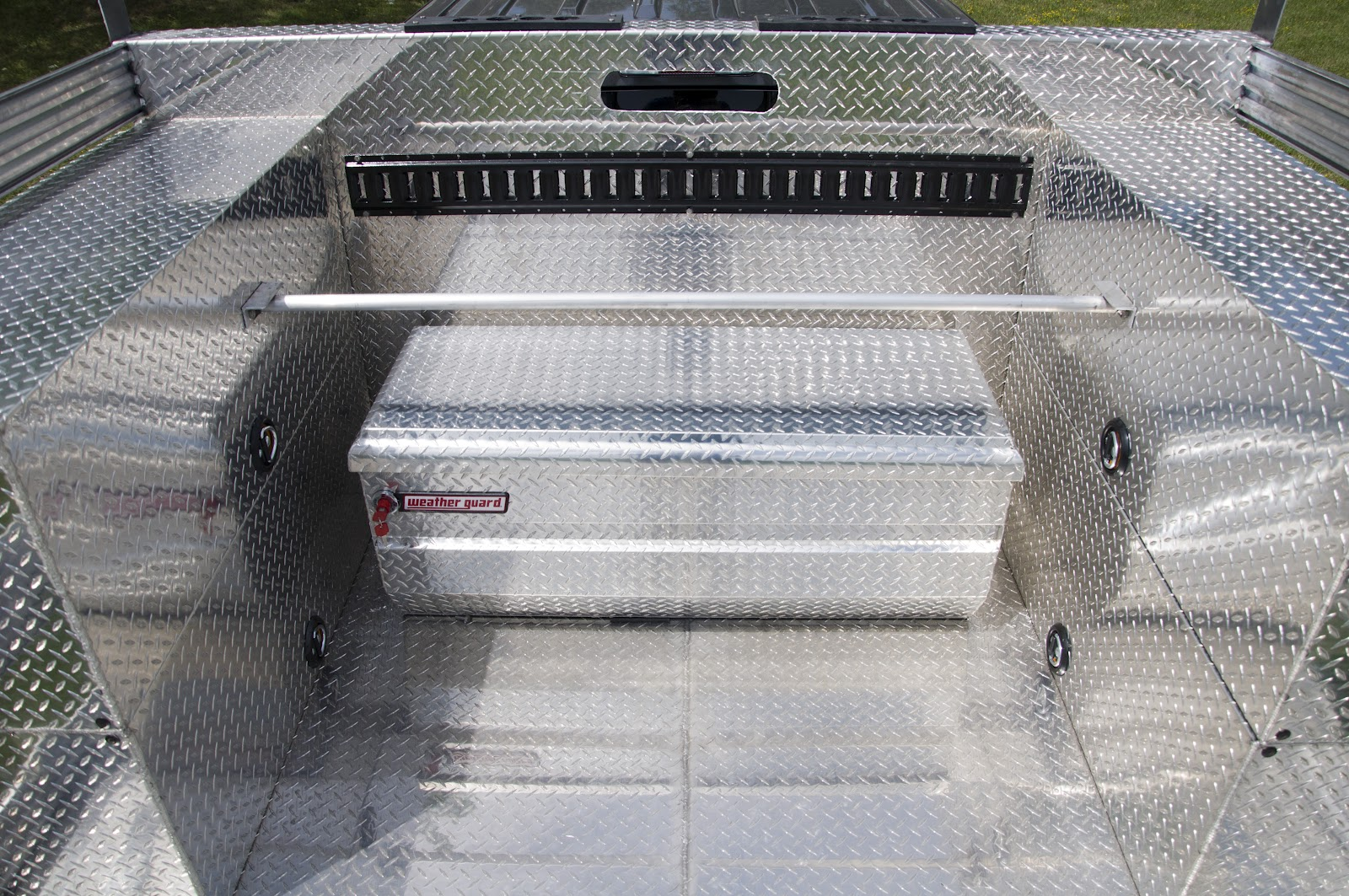 Two Aluminum Truck Beds With Diamond Plate Floor Bulkhead