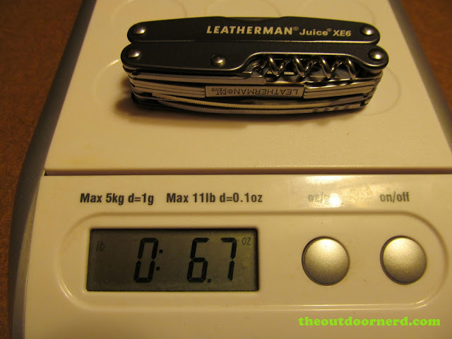 Leatherman Juice Xe6 Multi-Tool on scale