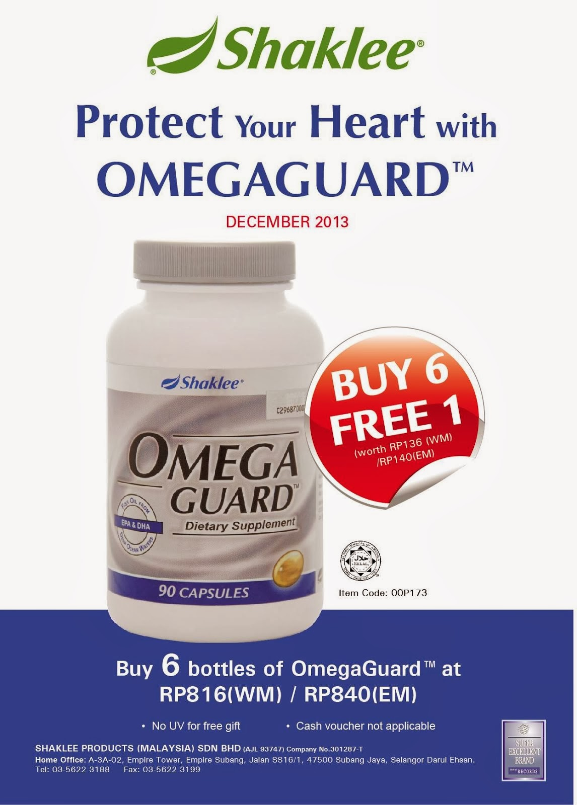 Dec Best Deal : Omega Buy 6 FREE 1