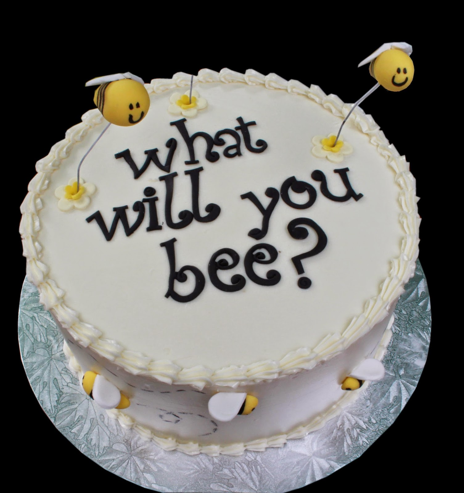 Was To Make The Cake Either Pink Or Blue But With White Icing So Surprise In Cutting Isnt It Such A Cute All Little Bees