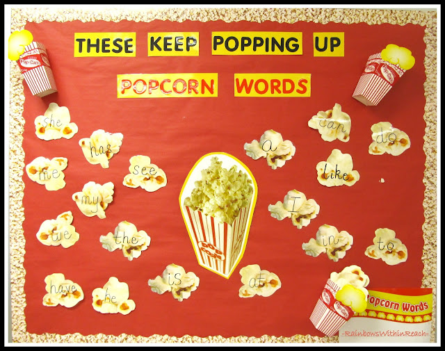 photo of: Popcorn Site Words Bulletin Board at RainbowsWithinReach