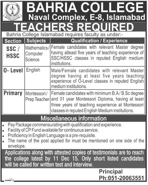 Teachers Jobs in Bahria College Islamabad