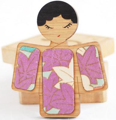 Kimono Reincarnate Kokeshi brooch