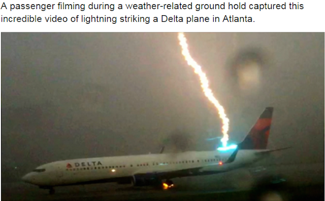 Lightning strikes Delta flight while it waits to take off in Atlanta